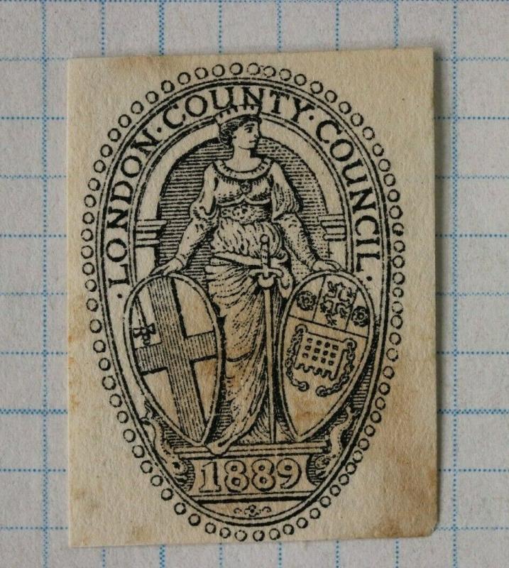 London county council 1889 official postal envelope embossed seal emblem DM