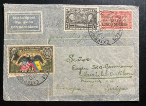 1938 Guayaquil Ecuador Airmail Cover To Zurich Switzerland Ozalid Copies Seal