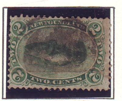 Newfoundland Sc 24a 1865 2 c grn codfish stamp used