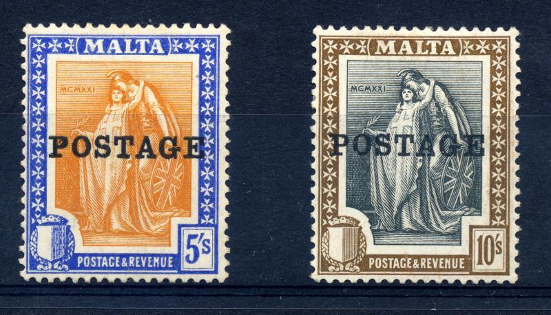 Malta 1926 sg 155-156 5/- and 10/- POSTAGE opts lm