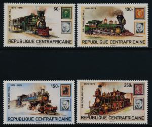 Central Africa 398-401 MNH Trains, Locomotives, Stamp on Stamp