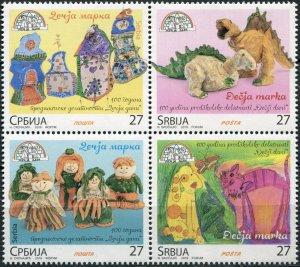 Serbia 2019. Children's Art (MNH OG) Block of 4 stamps
