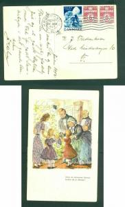 Denmark. Christmas Card 1943. With Seal + 2x5  Ore. Family,Tree. Cancel: Copenha