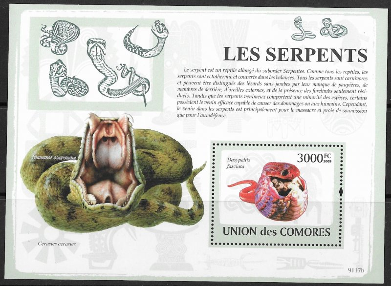 Comoro Islands MNH S/S Snakes Serpent 2009
