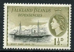 Falkland Is DEP SGG28a 1 1/2d Black and yellow olive U/M