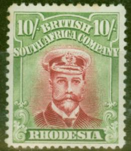 Rhodesia 1922 10s Crimson & Brt Yellow-Green SG309 Fine Lightly Mtd Mint