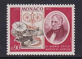 Monaco  #878   MNH  1973  anniversaries   Cayley and early model plabe  90c