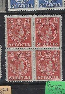 ST LUCIA  (P0105B)  KGVI 3C  SG 148 BL OF 4   MNH
