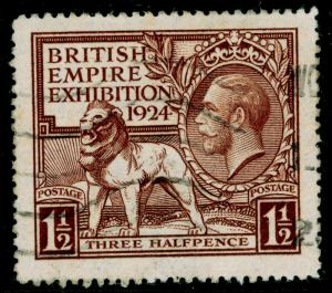 SG431, 1924 1½d brown, USED. Cat £15.