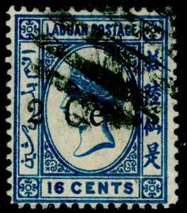 LABUAN SG25, 2c on 16c blue, FINE USED. Cat £160.