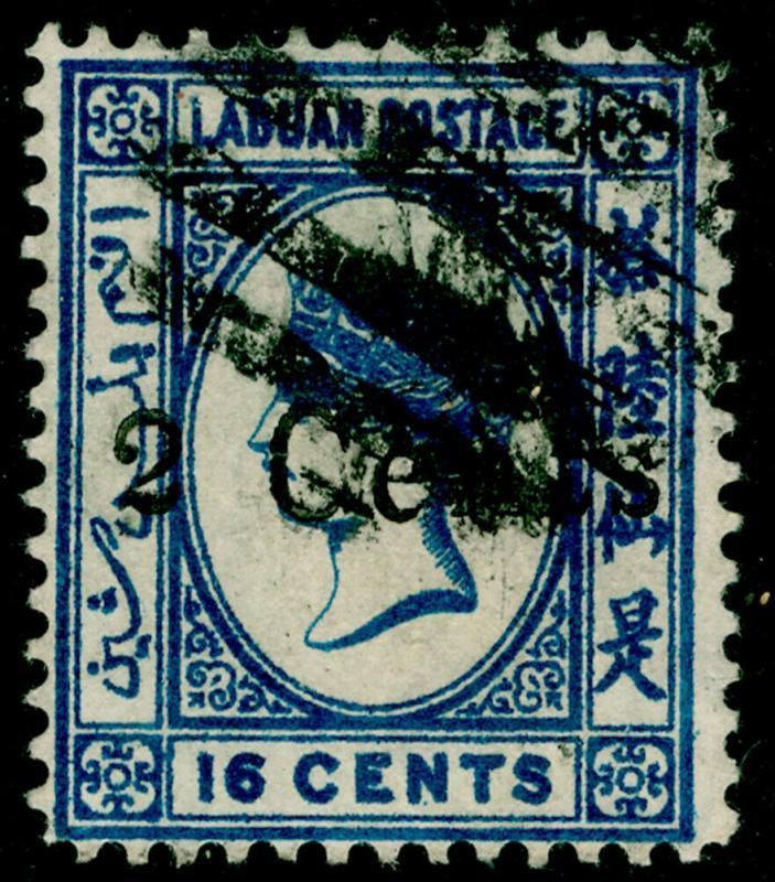 LABUAN SG25, 2c on 16c blue, FINE USED. Cat £160.