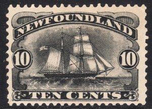1887 - 1896 Newfoundland Canada Schooner 10¢ black MMH Sc# 59 CV $130.00