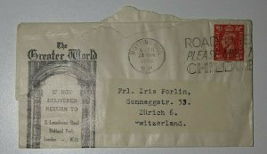 GB Newspaper Wrapper Label 1950 Greater World