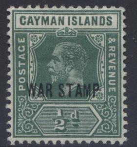 Cayman Islands - Scott MR5-KGV-Overprint War Stamp -1919 - MVLH- Single 1/2d