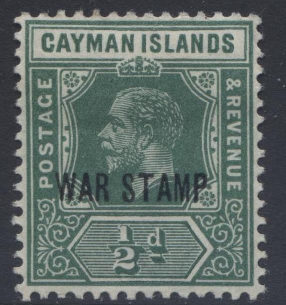 Cayman Islands - Scott MR5-KGV-Overprint War Stamp -1919 - MVLH- Single 1/2d