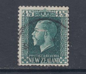 New Zealand Sc 152 used 1915 4½p dark green KGV, scarce