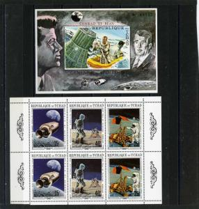 CHAD 1970 Sc#225A-E SPACE EXPLORATION SHEET OF 6 STAMPS & S/S MNH
