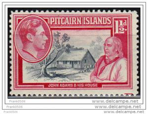 Pitcairn Islands 1940, John Adams and His House, 1 1/2d, sc#3, MLH