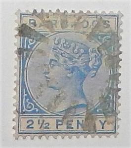 Barbados 62. 1882-85 2 1/2p Dull blue QV, used