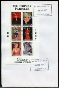 TURKMENISTAN '97  LOT OF NINE DIFFERENT PRINCESS DIANA MEMORIAL FIRST DAY COVERS