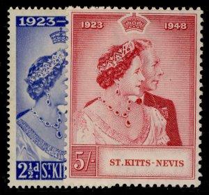 ST KITTS-NEVIS GVI SG80-81, ROYAL SILVER WEDDING set, M MINT.