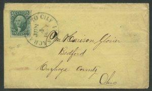 #14 10c 1855 XF ON COVER SACRAMENTO TO OHIO BV2467