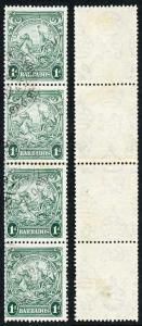Barbados SG249b 1d Blue Green COIL JOIN STRIP FINE USED
