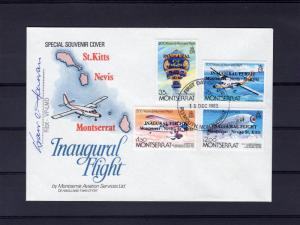 Montserrat 1983 Manned Flight set of 4 ovpt Inaugural Flight FDC signed by Pilot