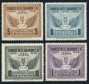 Salvador 613,C122-C124,MNH.Michel 656-659. UPU-75,1949.Torch,Winged letter.