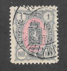 Finland Scott 43 Used 1m Coat of Arms  stamp 2015 CV $2.75