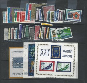 UNITED NATIONS NY (P0708B)  COLLECTION OF 147  DIFF MNH STAMPS+3 SS CHEAP START