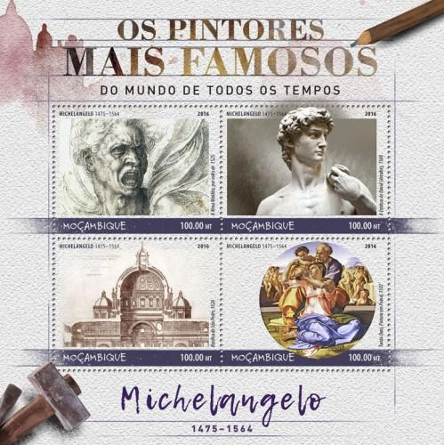 MOZAMBIQUE - 2016 - Painters. Michelangelo - Perf 4v Sheet - MNH