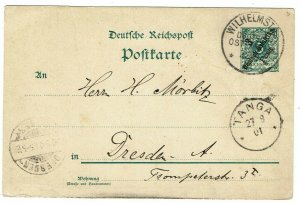 German East Africa 1901 Wilhelmsted cancel on postal card to Germany