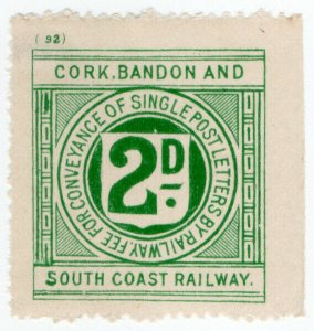 (I.B) Cork Bandon & South Coast Railway : Letter Stamp 2d (plate 92)