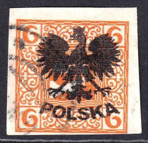 AUSTRIA SCARCE POLAND POLSKA EAGLE OVERPRINT #3 USED F/VF SOUND