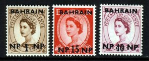 BAHRAIN QE II 1957-59 New Currency Surcharged Group SG 102, SG 107 & SG 110 MNH