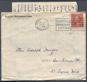 SCHOFIELD BARRACKS STATION: 1927 Cover w/Machine Cancel; Hawaii - with Letter