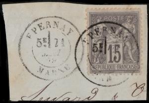 FRANCE 1878 CàD  EPERNAY / MARNE  sur Yv.77 15c Sage sur fragment