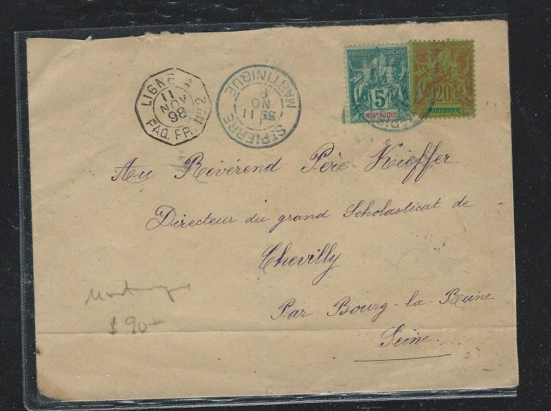 MARTINIQUE  (PP2709B) 1898 5C+20C LETTER FRENCH LIGNE TO FRANCE
