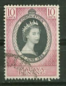 Malaya-Penang # 27  QE II Coronation (1) VF USED