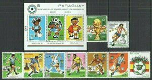 F984 PARAGUAY FOOTBALL WORLD CUP ARGENTINA SPAIN MICHEL 36 EU #3327-35+BL358 MNH