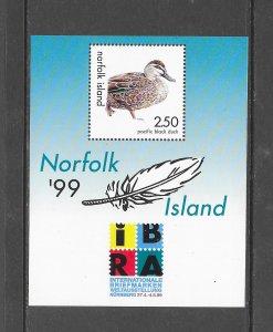 BIRDS - NORFOLK ISLAND #678  DUCK  IBRA 1999 MNH