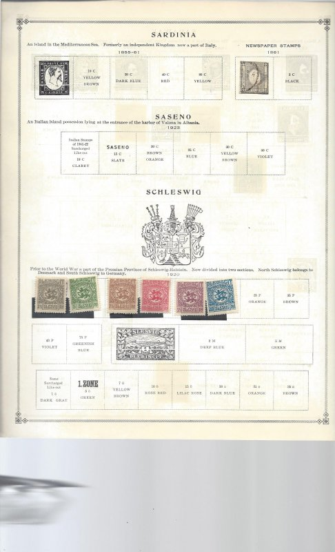 Schleswig Sarawak and Sengal on 8 Old Album Pages
