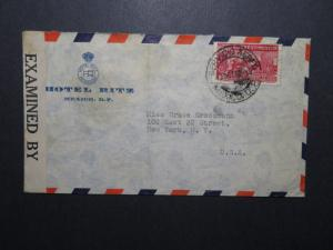 Mexico 1942 Ritz Hotel Censor Cover to USA / Light Fold - Z12010