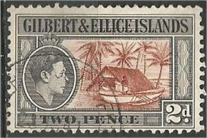GILBERT AND ELLICE, 1939,  used 2p, Canoe and boat house  Scott 43
