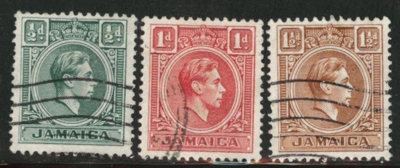 Jamaica Scott 116-118 used 1938 KGVI stamps