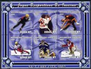 Mozambique 2001 Salt Lake Winter Olympics perf sheetlet c...