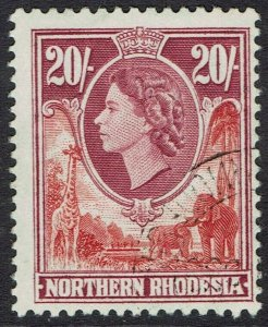 NORTHERN RHODESIA 1953 QEII GIRAFFE AND ELEPHANTS 20/- USED