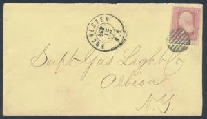 #64 PINK SEPT 21,1861 NEW YORK LOCAL USAGE WITH PF CERT CV $950.00 BR1400