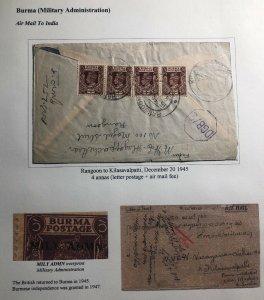 1945 Rangoon Burma Military Administration Airmail Cover To Kilasavakpatti India